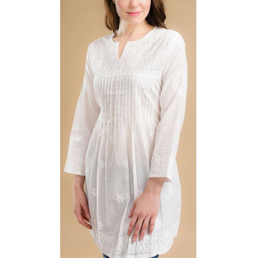 Hand Embroidered White Tunic Tops- Sage Moon