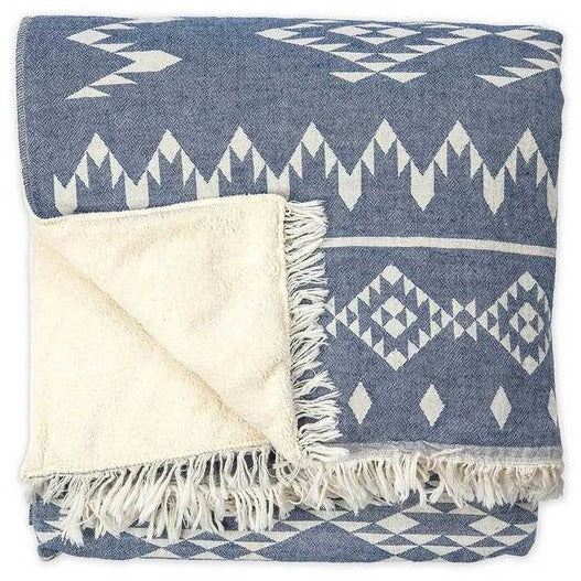 Fair Trade Fleece Lined Throw & Sadhana Blanket - Sage Moon