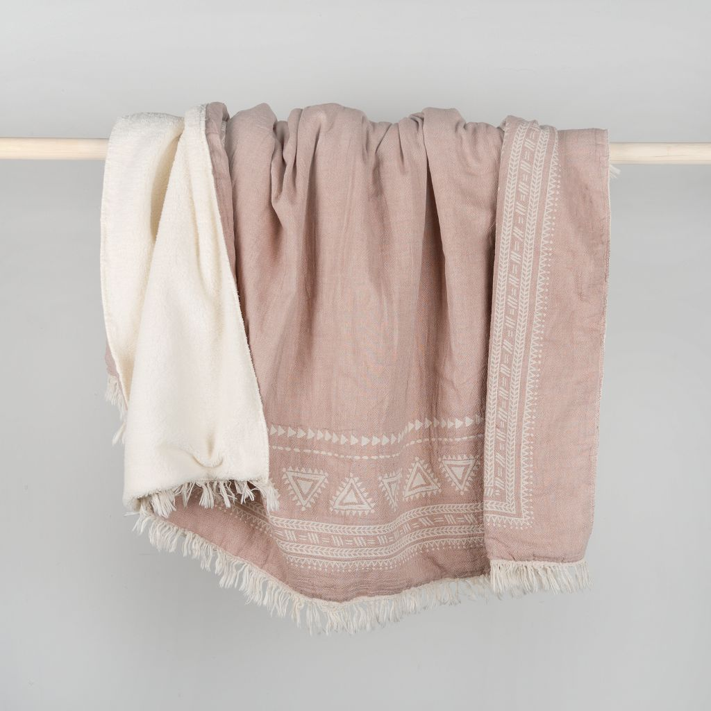 Fair Trade Fleece-Lined Throw - Sage Moon
