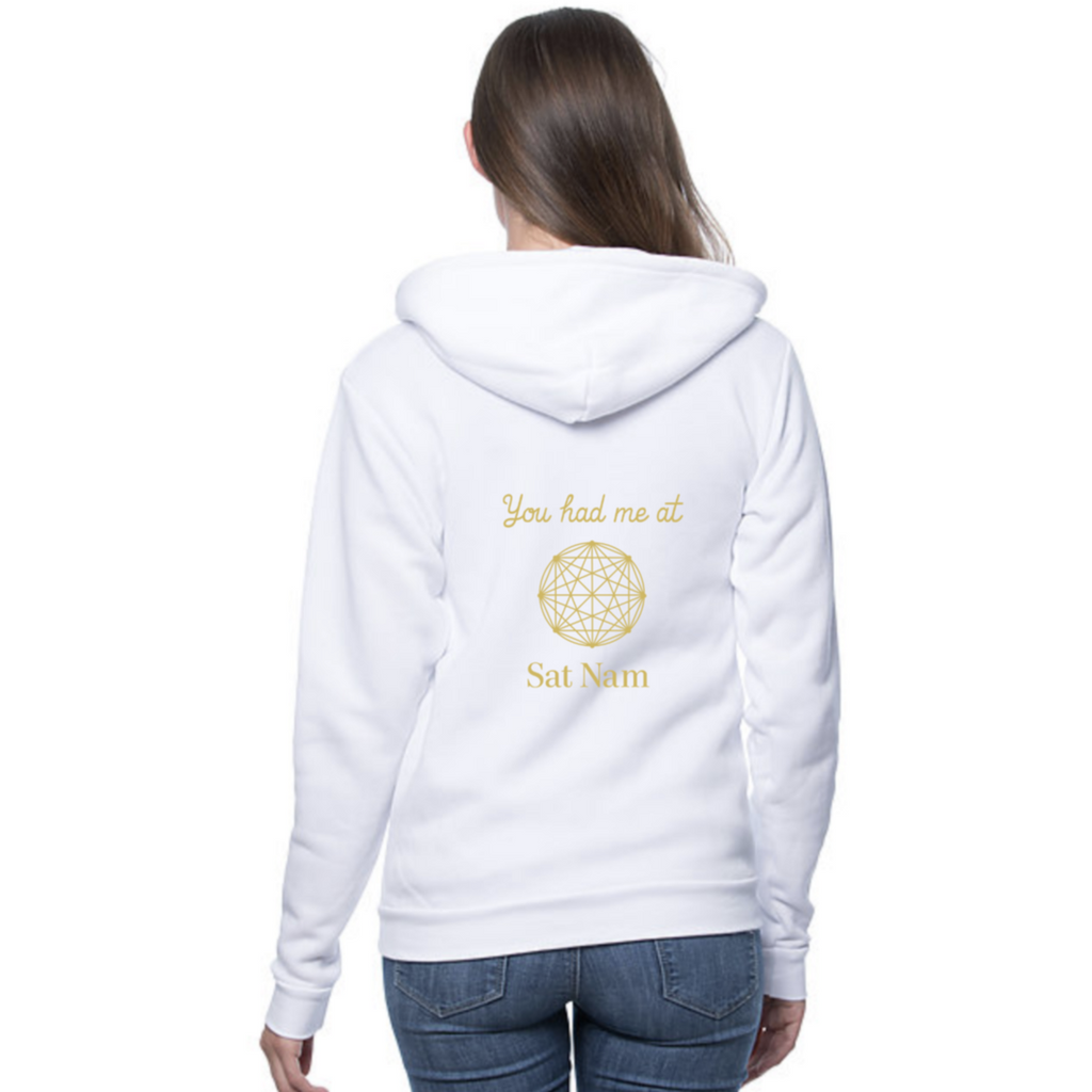 You Had Me at Sat Nam White Fleece Hoodie