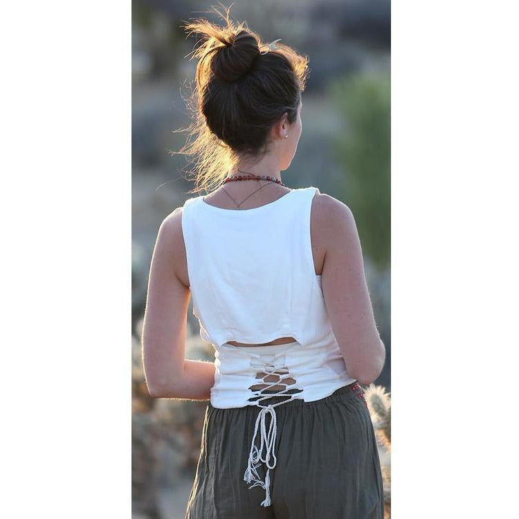 Crop Tank with lace up back Tops- Sage Moon