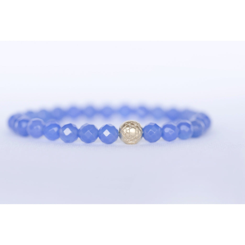 Blue Agate Sri Yantra Stretch Bracelet Jewelry- Sage Moon