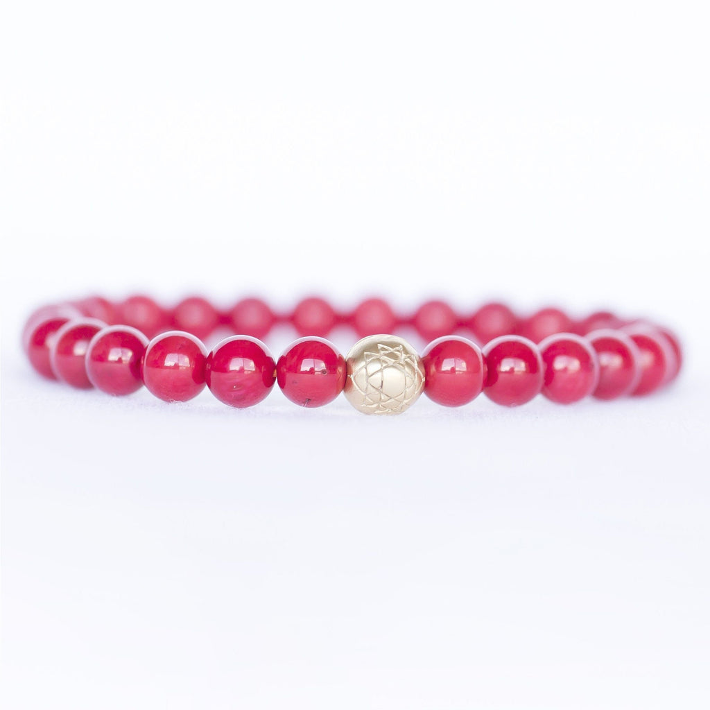 Coral Sri Yantra Stretch Bracelet Jewelry- Sage Moon