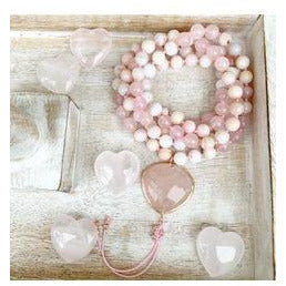 Pink Opal and Rose Quartz Fearless Heart Mala