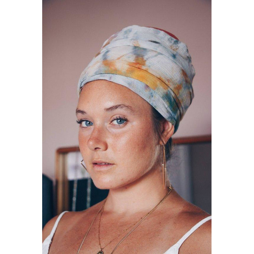 Ice dyed Turban/Scarf (cotton) Headcovers- Sage Moon