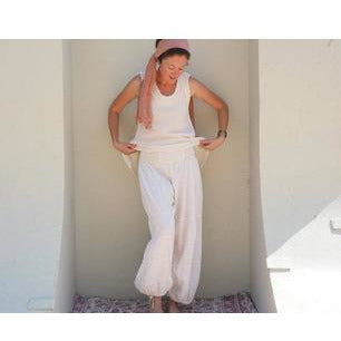 cream color cotton gauze lined pants alt view