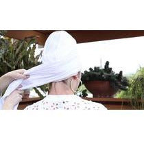 Fancy Trim White Turban Headcovers- Sage Moon
