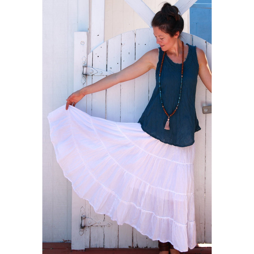 Gauze Cotton Tiered skirt Skirts & Dresses- Sage Moon