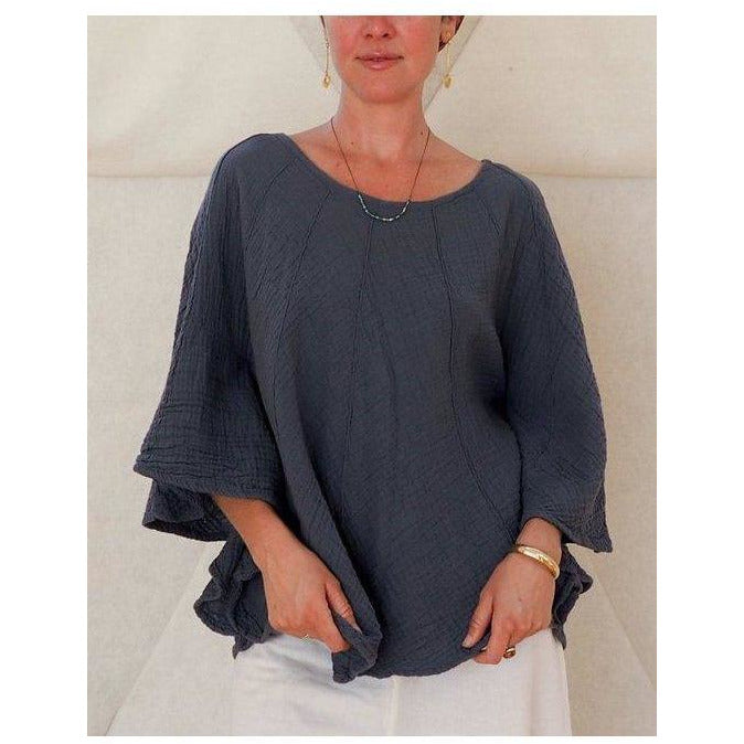 Poncho Style Sleeved Top Tops- Sage Moon