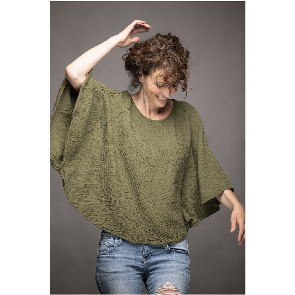 Poncho Style Sleeved Top - Sage Moon