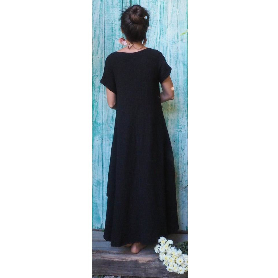Soft Gauze Tee Dress (Black) - Sage Moon