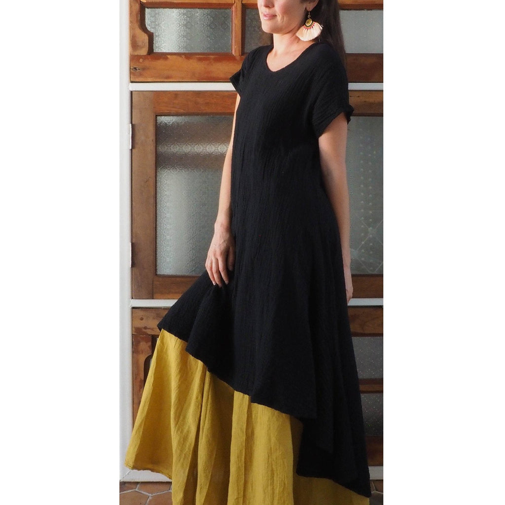 Soft Gauze Tee Dress (Black)