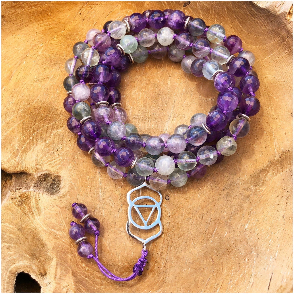 Fluorite and Amethyst Clear Vision Mala - Sage Moon