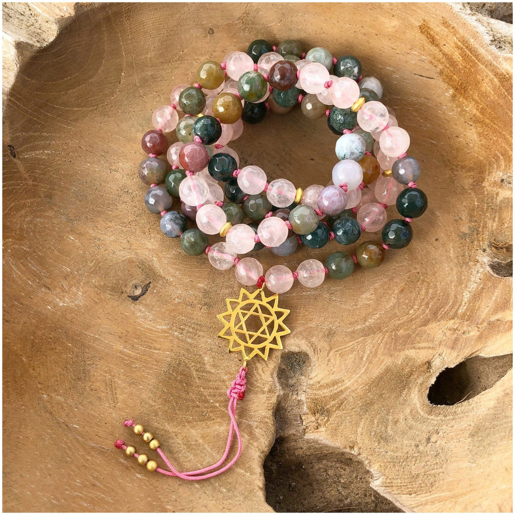 Rose Quartz & Agate Self-Love Mala Jewelry- Sage Moon