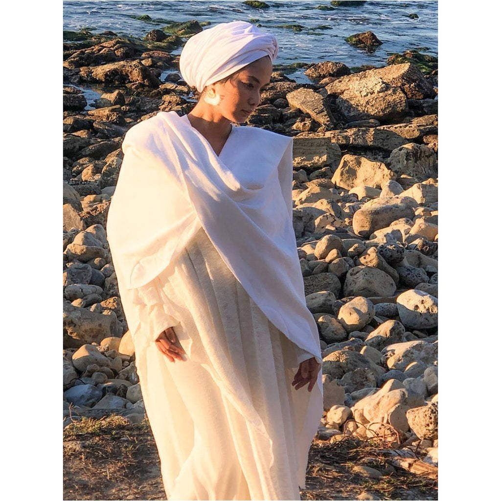 White Organic Cotton Fleece Meditation Wrap - Sage Moon