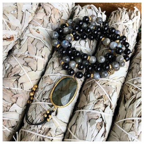 Black Onyx and Labradorite Mala