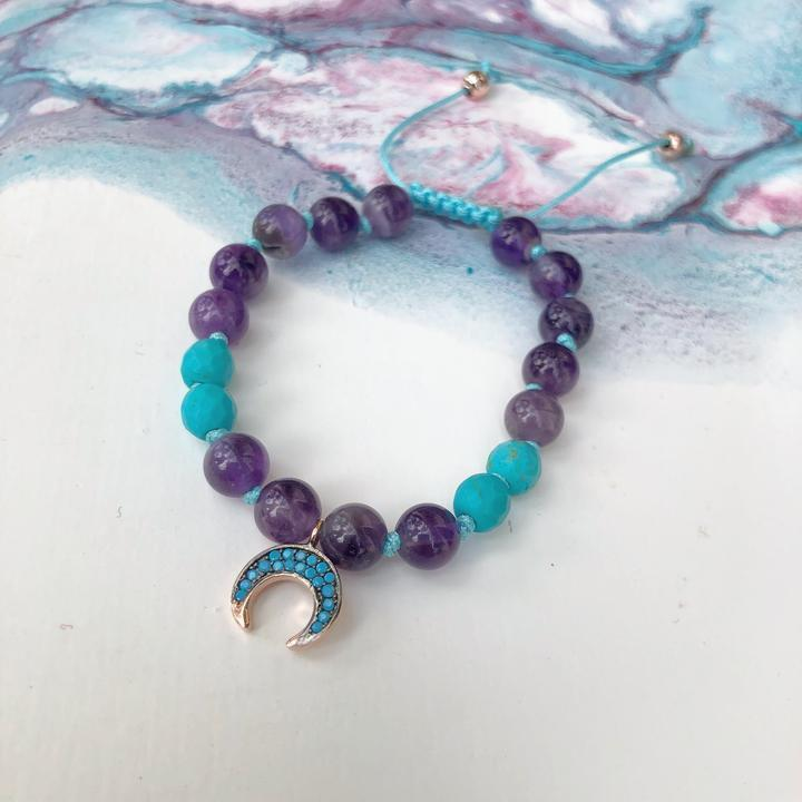 Amethyst and Turquoise Bracelet - Sage Moon