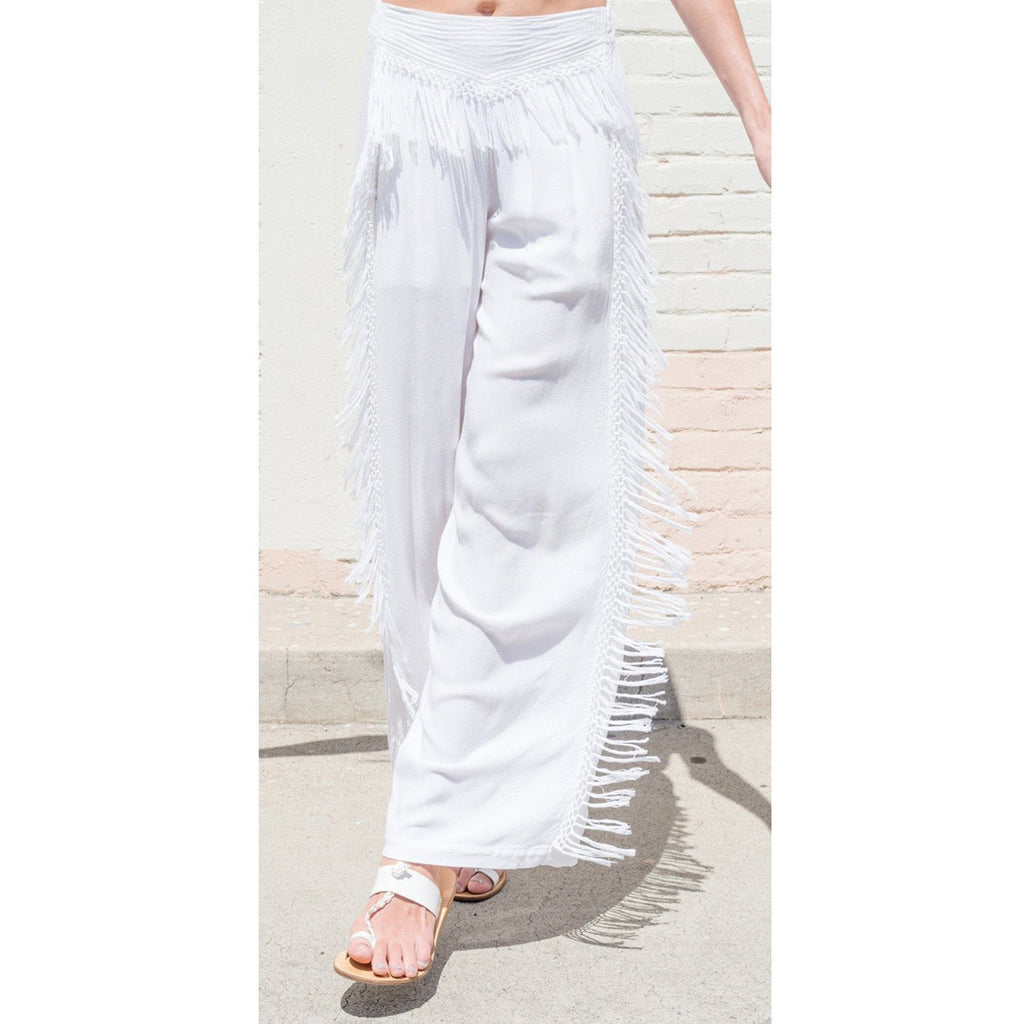 white one dance pants with fringes