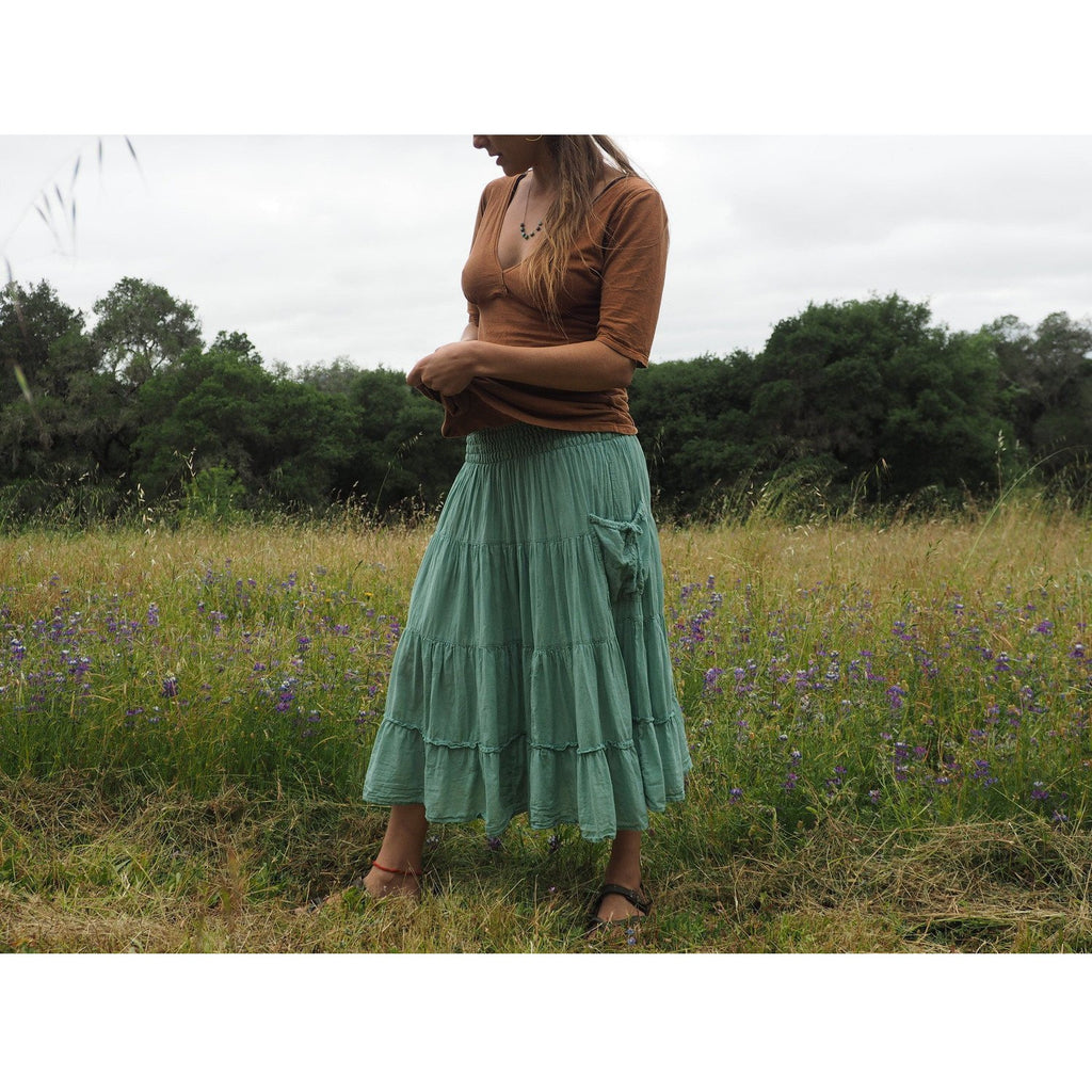 Tiered Skirt with pockets Skirt- Sage Moon