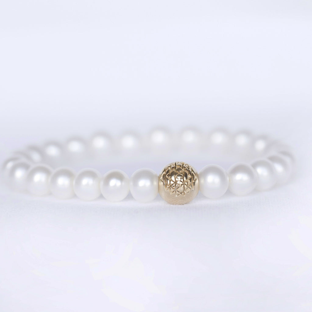 Pearl Sri Yantra Stretch Bracelet - Sage Moon