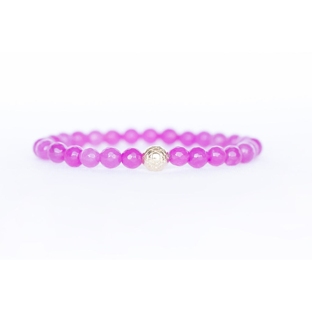 Fuchsia Rose Quartz Sri Yantra Stretch Bracelet Jewelry- Sage Moon