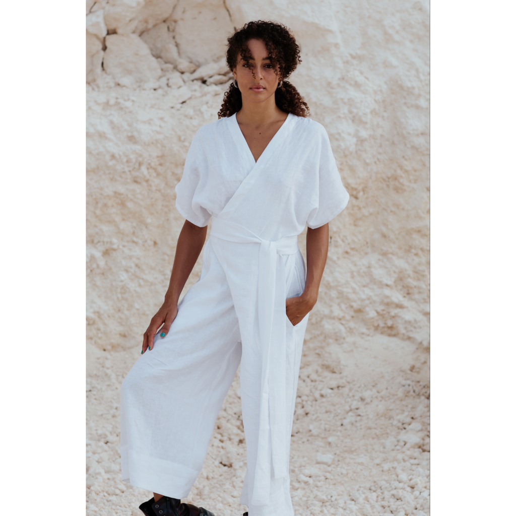 Magdalena White Linen Playsuit - Sage Moon