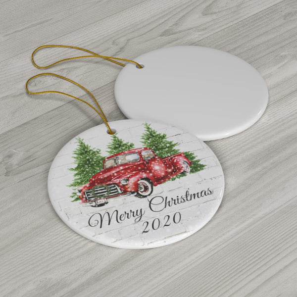 Red Truck Personalized Porcelian Ornament