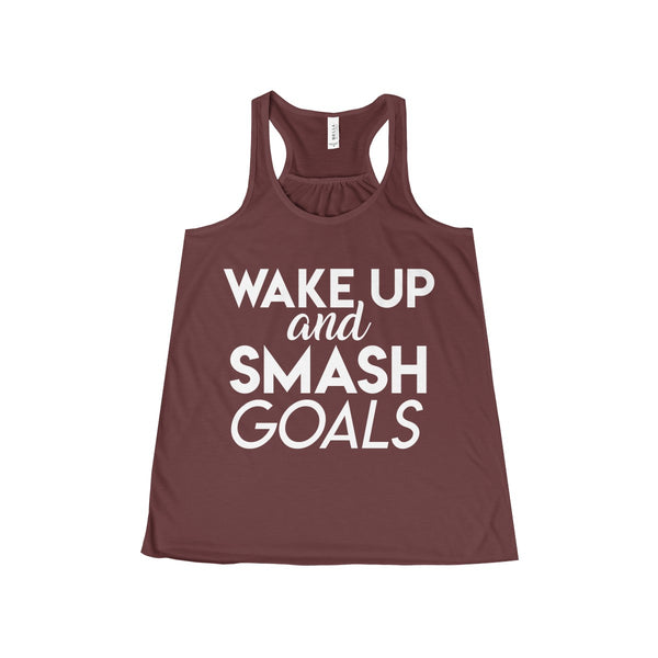 Women's Wake Up and Smash Goals Flowy Racerback Tank