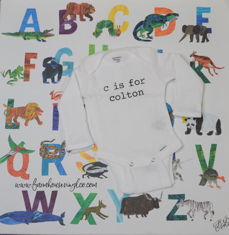 Alphabet Baby Name Announcement Onesie
