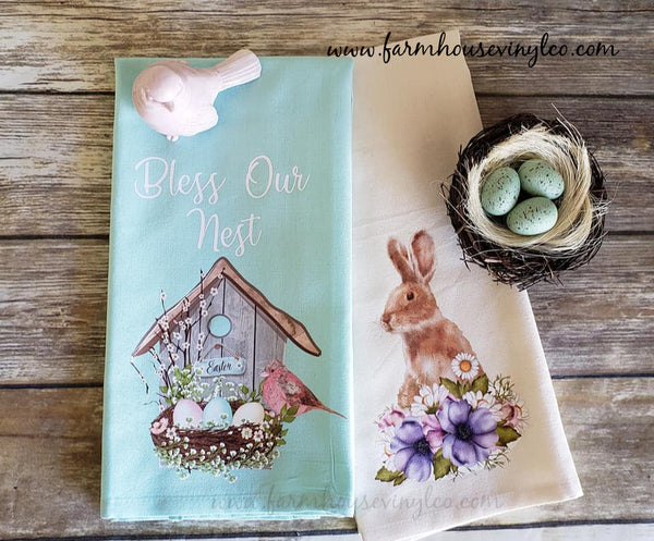 Farmhouse Vintage Easter Tea Towel
