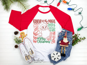 Christmas Santa Sayings Raglan Unisex Shirt