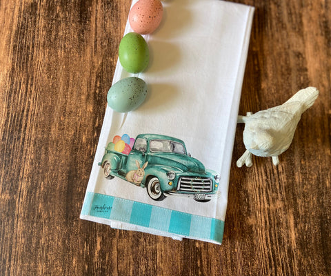 Easter Egg Truck Tea Towel