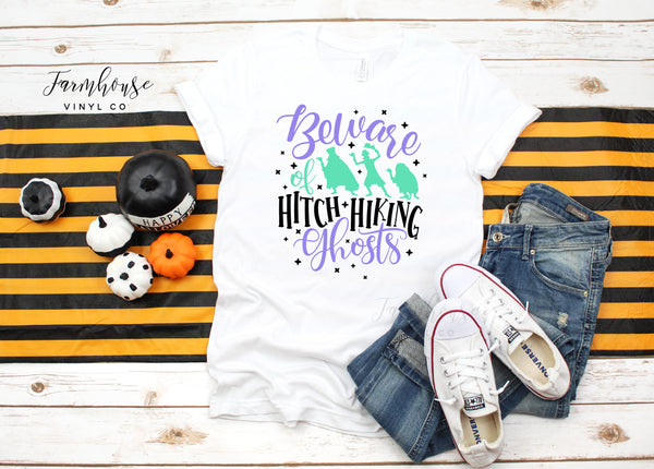 Haunted Mansion Beware of Hitch Hiking Ghosts Unisex Short Sleeve Shirts