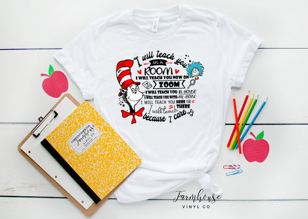 Dr Suess Cat in the Hat I Will Teach You on Zoom Shirt