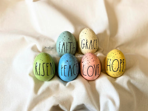 Farmhouse Rae Dunn Inspired Easter Eggs