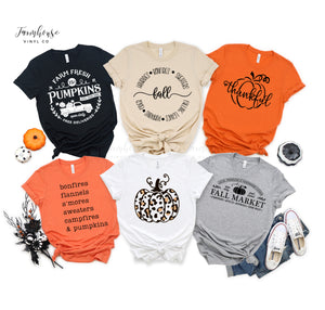 Fall Collection Pumpkin Unisex Short Sleeve Shirts