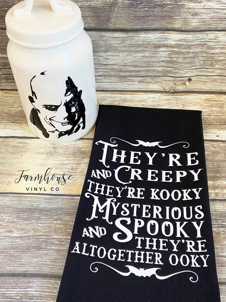 Addam's Family Halloween Decals and Towel