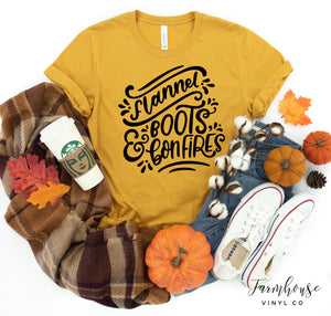 Flannel Boots and Bonfires Bella Canvas Unisex Short Sleeve Shirt