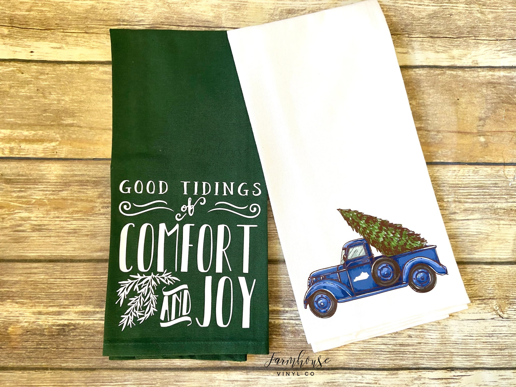 Blue Christmas Truck and Good Tidings of Comfort and Joy Towels