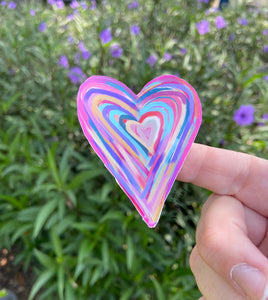 Hand Painted Heart Sticker