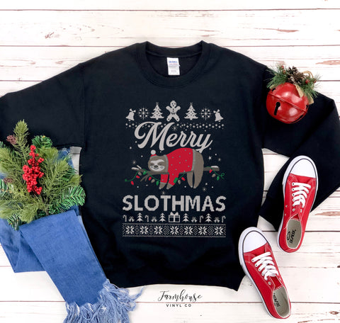 Merry Slothmas Sloth Unisex Ugly Christmas Clothing Collection