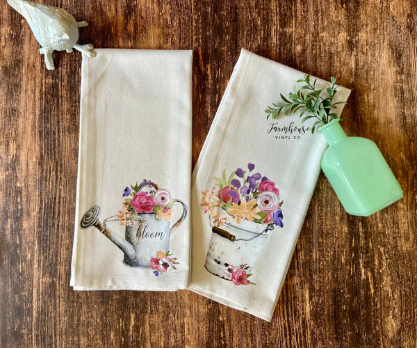 Vintage Floral Pail and Watering Can Tea Towel Set