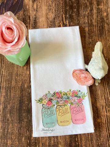 Spring Mason Jar Floral Tea Towel