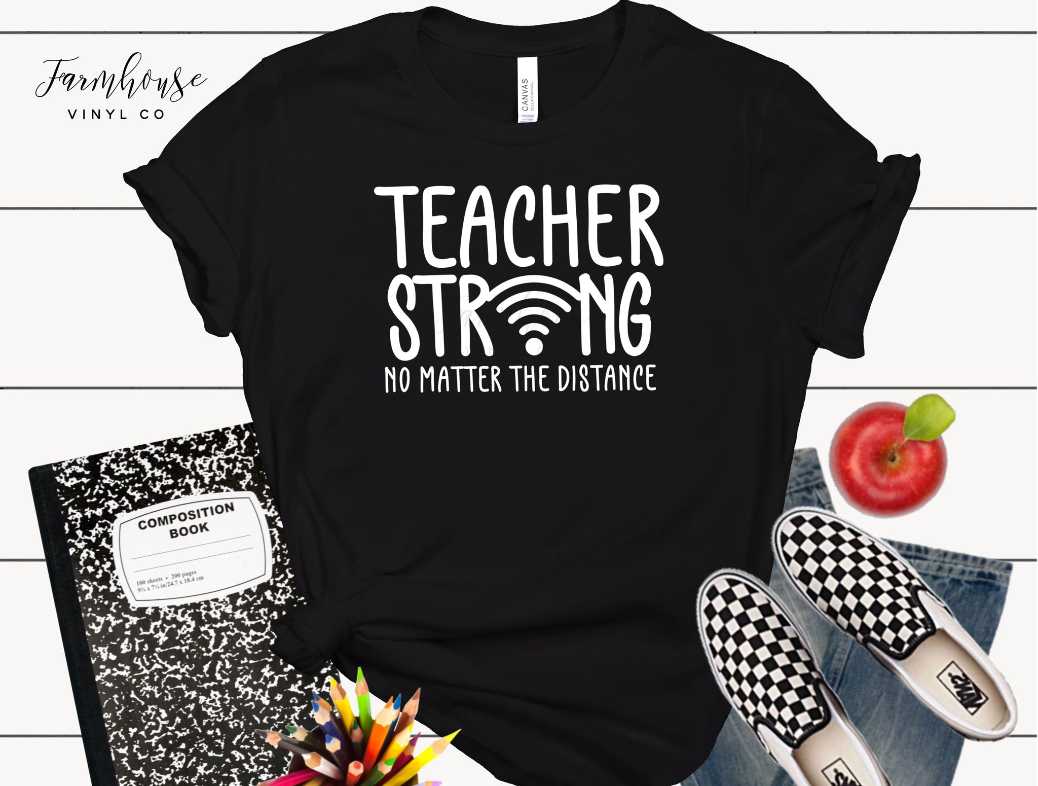 Teacher Strong No Matter the Distance Bella & Canvas Unisex Shirt
