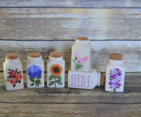 Rae Dunn Inspired Floral and Mother's Day Spice Jar Decals