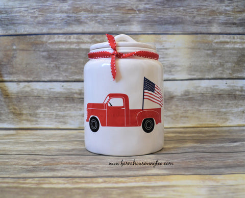 Rae Dunn Inspired 4th of July Flag Truck Canister Decal