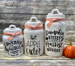Fall and Autumn Canister Decals