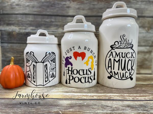 Rae Dunn Inspired Hocus Pocus Halloween Canister Decals