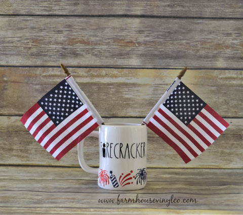 Wrap Around Rae Dunn Inspired Patriotic and Fourth of July Little Firecracker Mug Decal