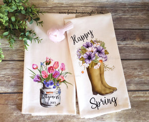 Farmhouse Vintage Easter and Spring Tea Towels